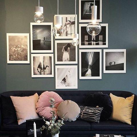 Black U0026 White Pics, Grey Walls, Dark Sofa And Pink Cushions   Love Love