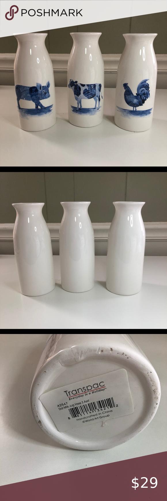Farm Animals Country Milk Jug Vase 3 Piece Set in 2020