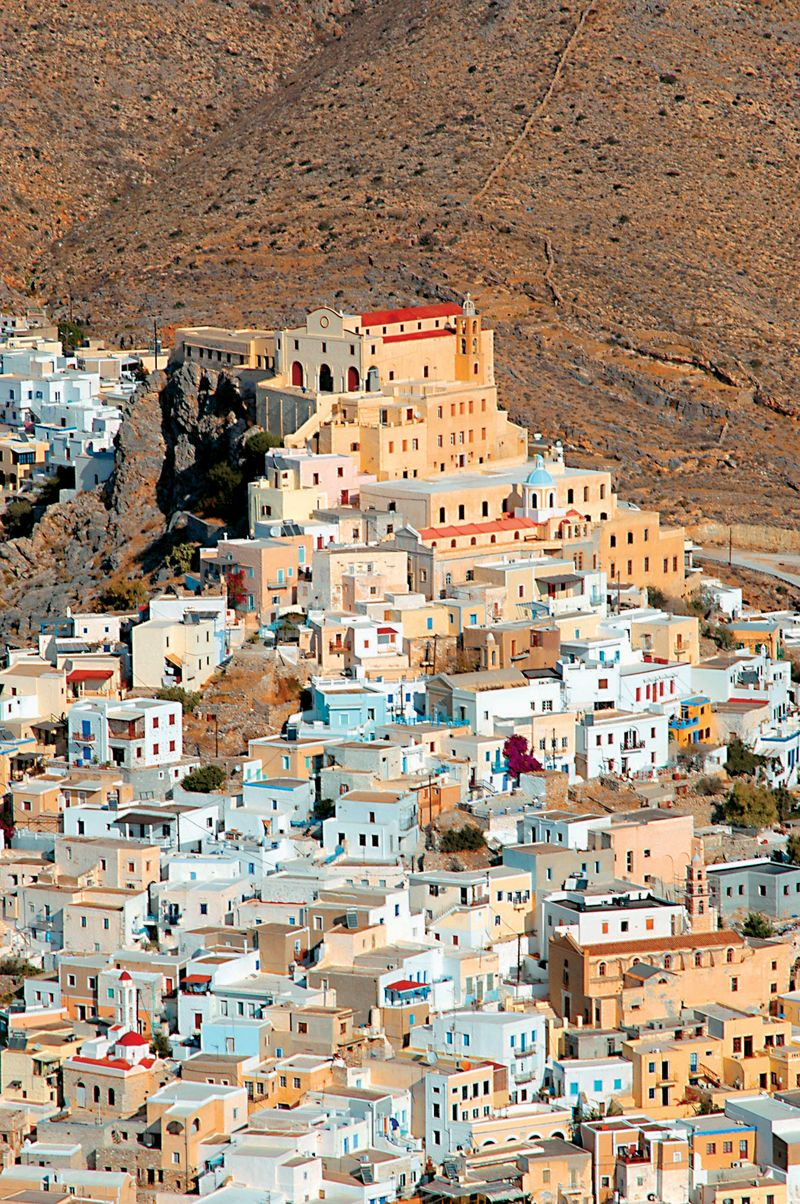 The beautiful town of Ano Syros, South Aegean, Greece .**.
