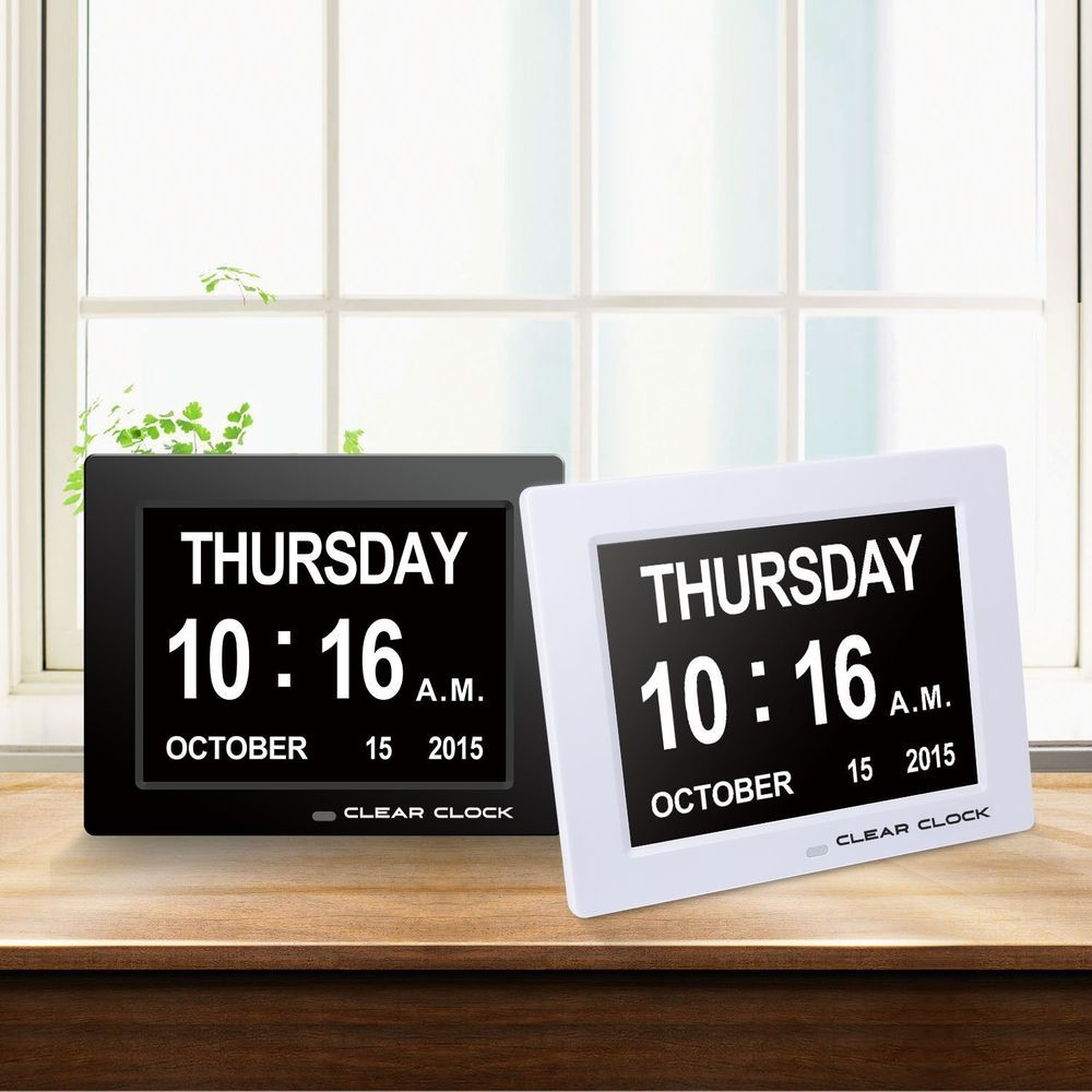48 99 Clear Clock 8 Led Memory Loss Clock Digital Calendar Day