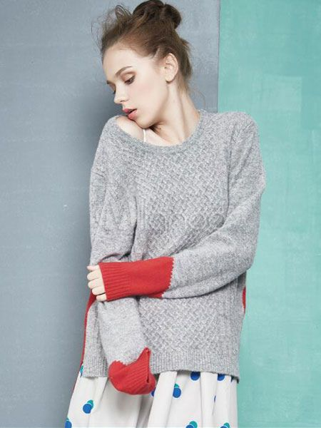 Round Neck Knitwear Color Block Long Sleeve Sweater - Milanoo.com