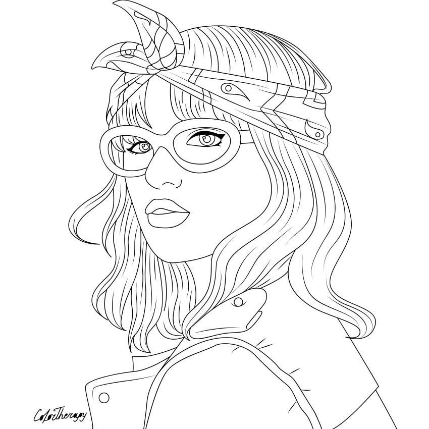 The Sneakpeek For The Next Gift Of The Day Tomorrow Do You Like This One Lady Cool Headband Cute Coloring Pages Color Therapy App Color Therapy