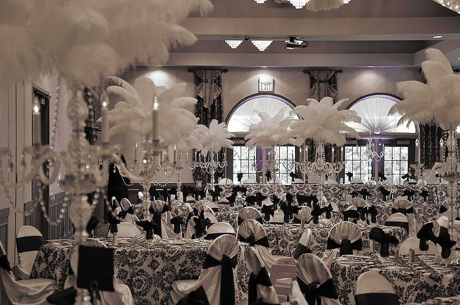 black and white damask wedding decor with crystal candelabras topped with white ostrich. Black Bedroom Furniture Sets. Home Design Ideas
