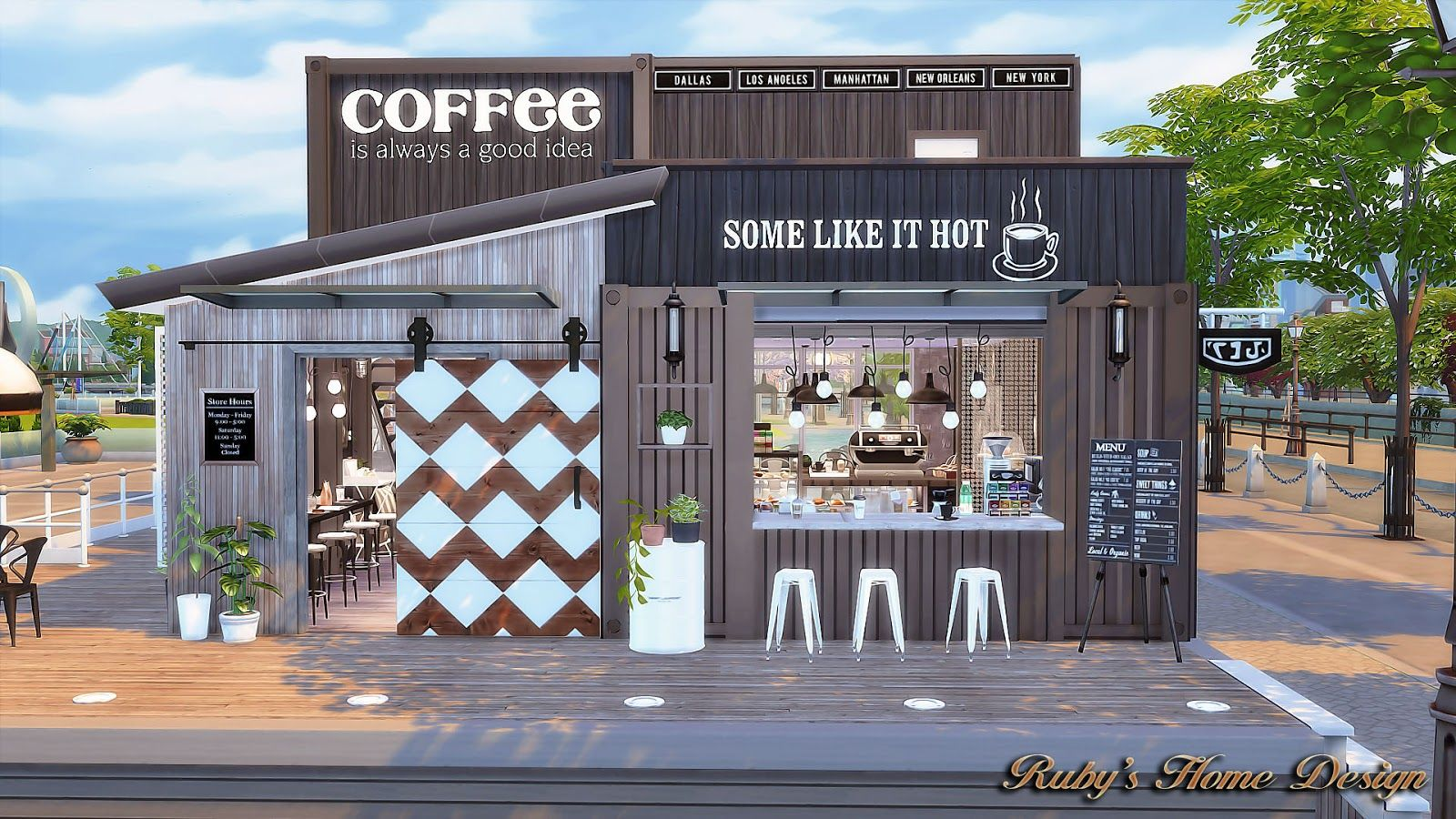 Sims4 container coffee shop ruby 39 s home design pinteres for The home design shop