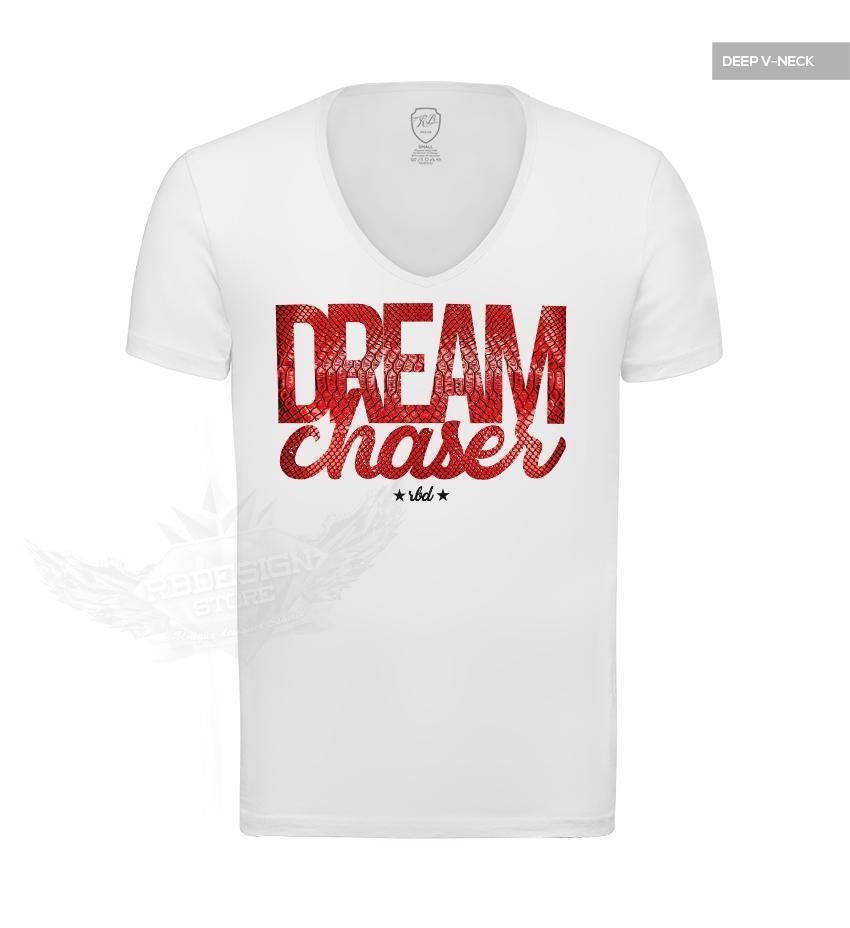 502d5954aab4 Dream Chaser Mens White T-shirt Slim Fit Motivation Tee MD877 Made of  highest quality fine stretch cotton 92% Cotton 8% Spandex *with added  enzyme and ...