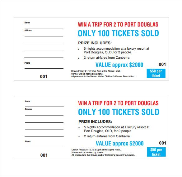 Sample Raffle Ticket Template Free Download  Free Raffle Templates