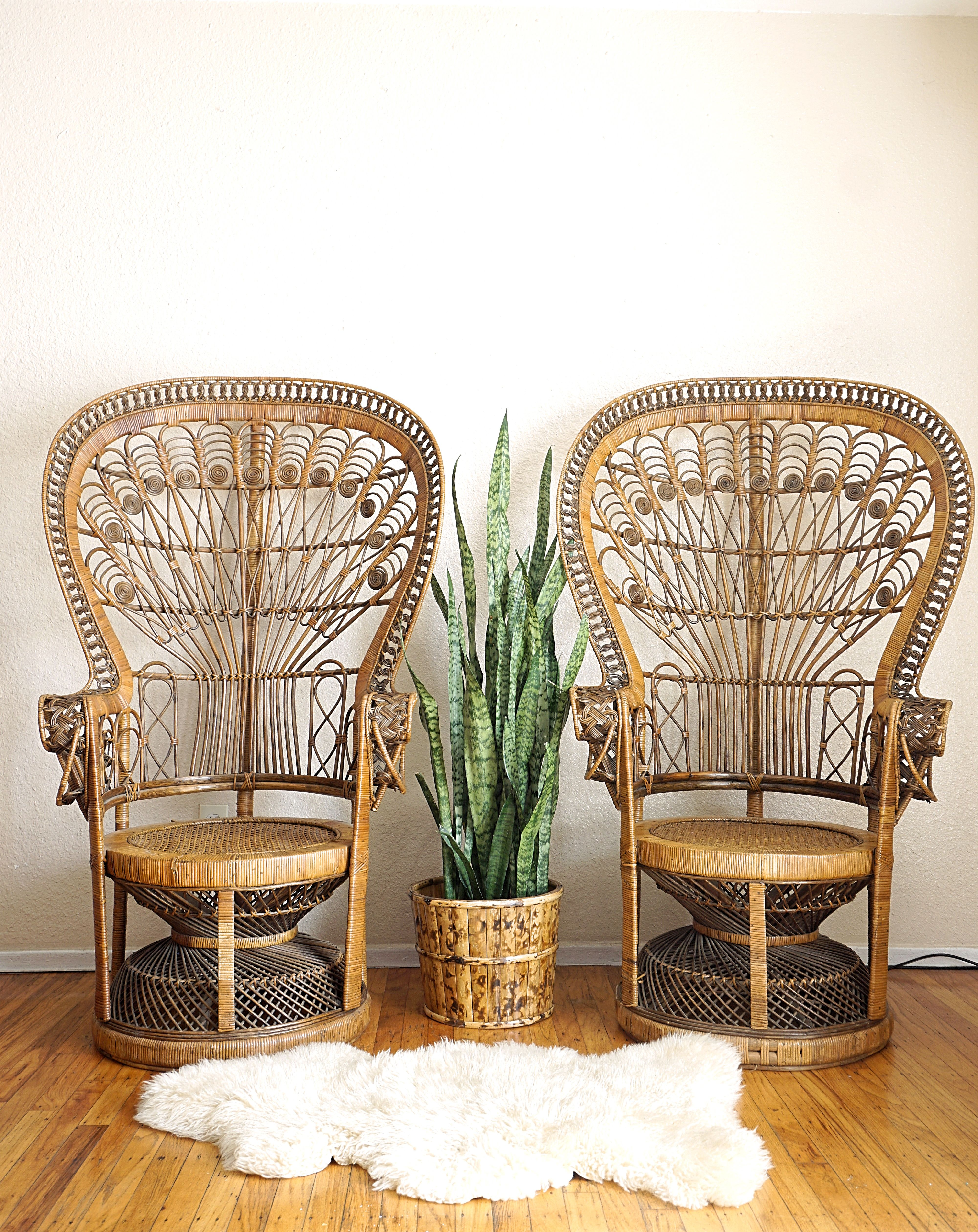 The king queen peacock chairs available for rent in the sacramento valley areas perfect for weddings parties photoshoots