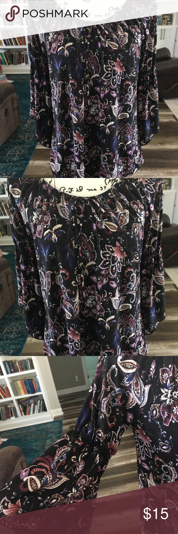 NAIF | Paisley Bell Split Sleeve Top Elastic neckline can be worn off or on the shoulder. Split bell sleeve adds a feminine boho touch. Black with pur…