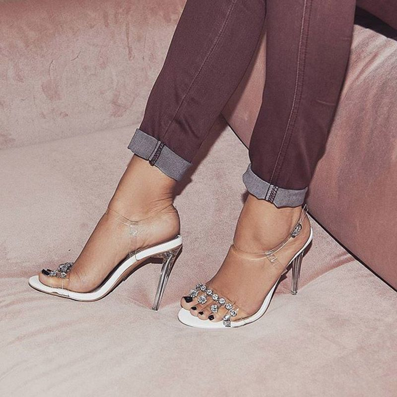 5603f07b3c4a Jelly Rhinestone Ankle Strap Stiletto Sandals