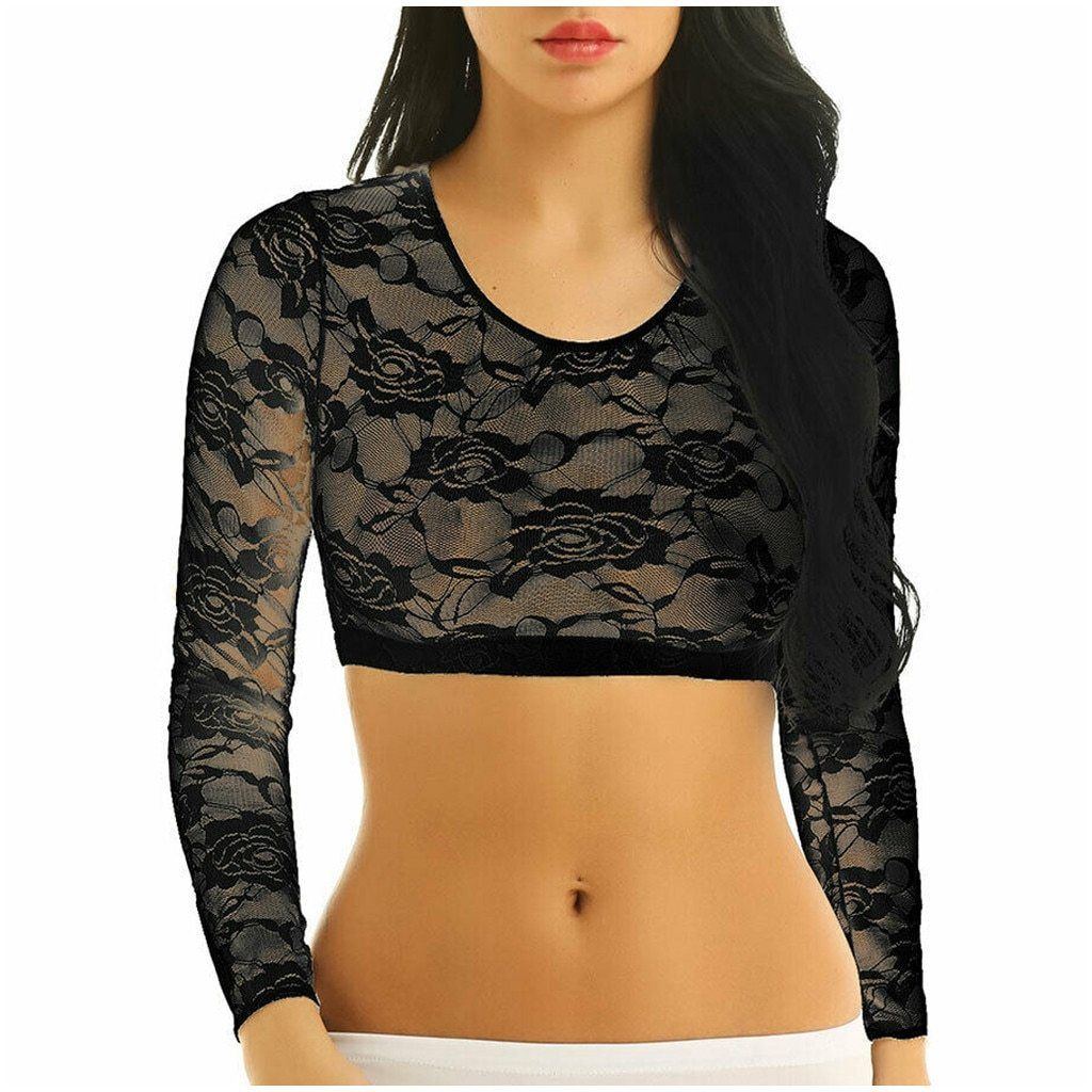 Women/'s Lace See Through Scoop Neck Long Sleeves Crop Tops Short Blouse T-shirt
