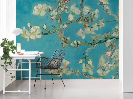 An office decorated with the Van Gogh wallpaper collection