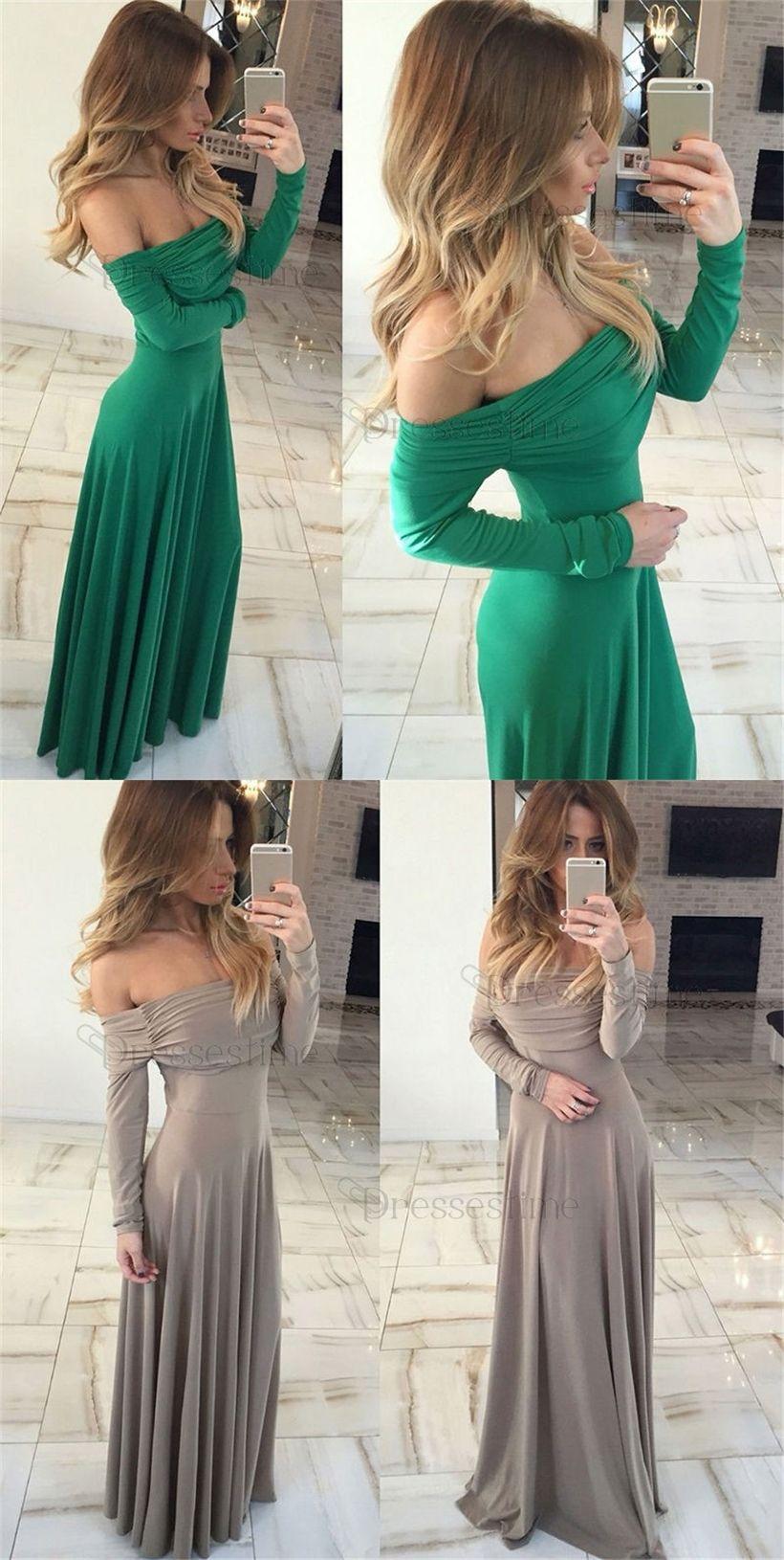 Simple off the shoulder long sleeves floor length jade prom dress