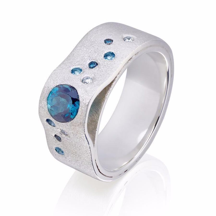 Sterling Silver Wave Crest stone set ring – Charlotte Cornelius