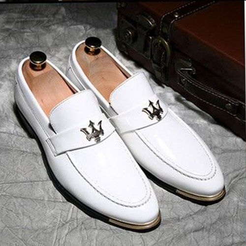 Patent Leather Shoes Men Party Shoes Moccasins Men's Oxfords Casual Men  Loafers Pointed Toe White Red