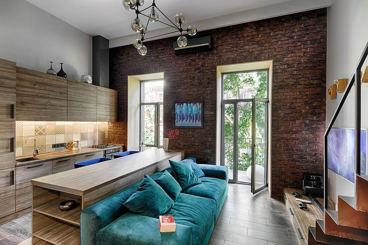 Small apartment living room with large windows, beautiful cobalt ...