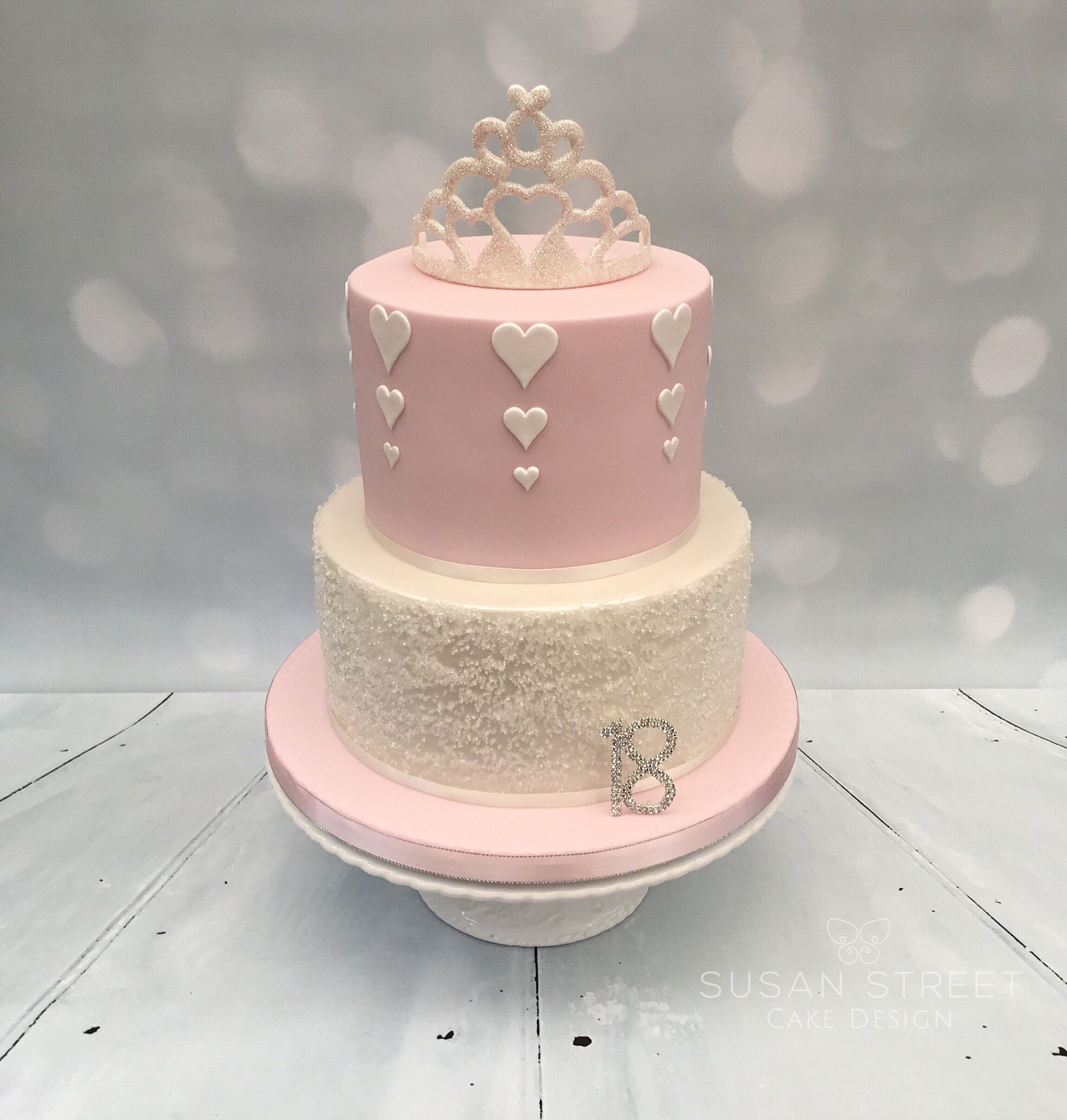 Pretty Pink Ivory Two Tier 18th Birthday Cake With Sparkly Tiara