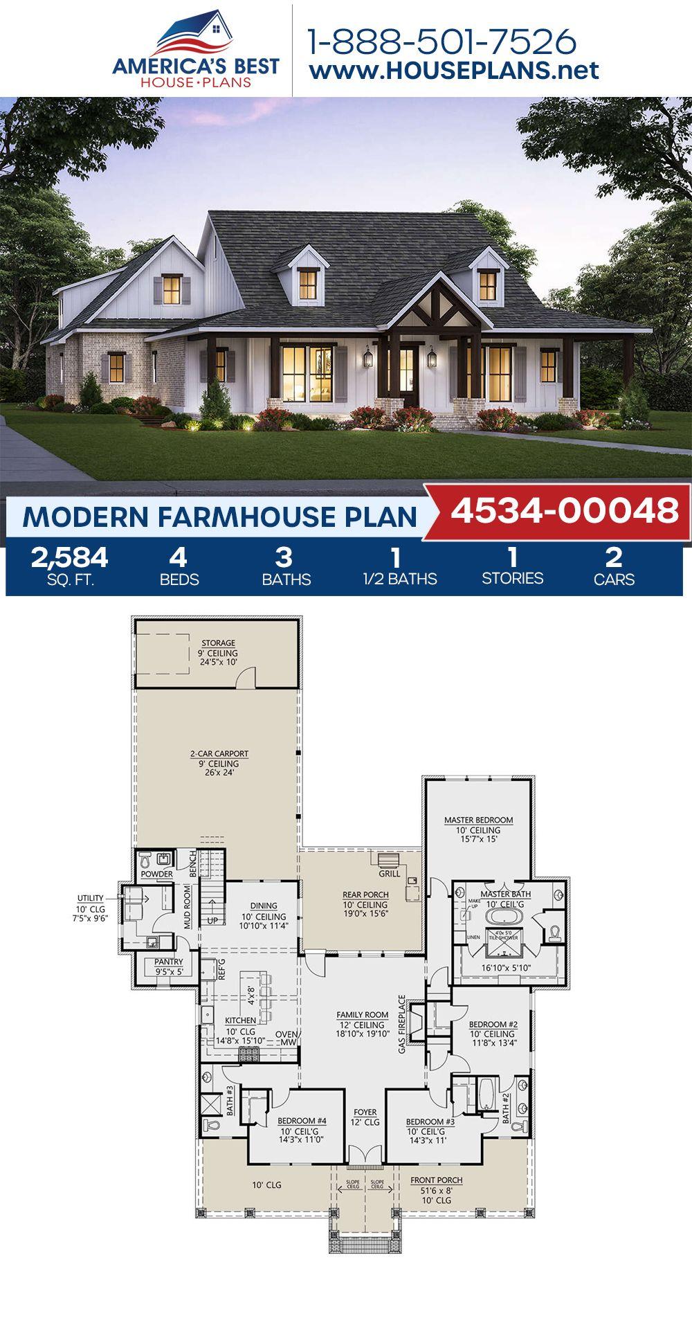House Plan 4534 00048 Modern Farmhouse Plan 2 584 Square Feet 4 Bedrooms 3 5 Bathrooms Modern Farmhouse Plans Farmhouse Style House Plans Family House Plans