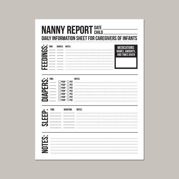 Nanny Time Sheet Template  Nanny Report Daily Information Sheet