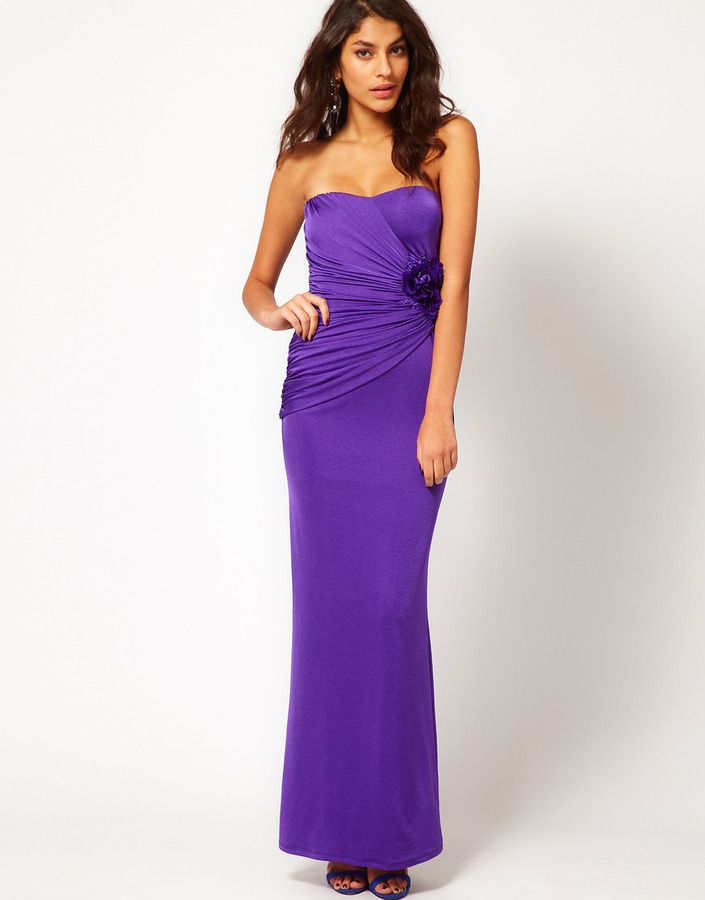 Debut Purple bandeau necked prom dress- at Debenhams.com Purple ...