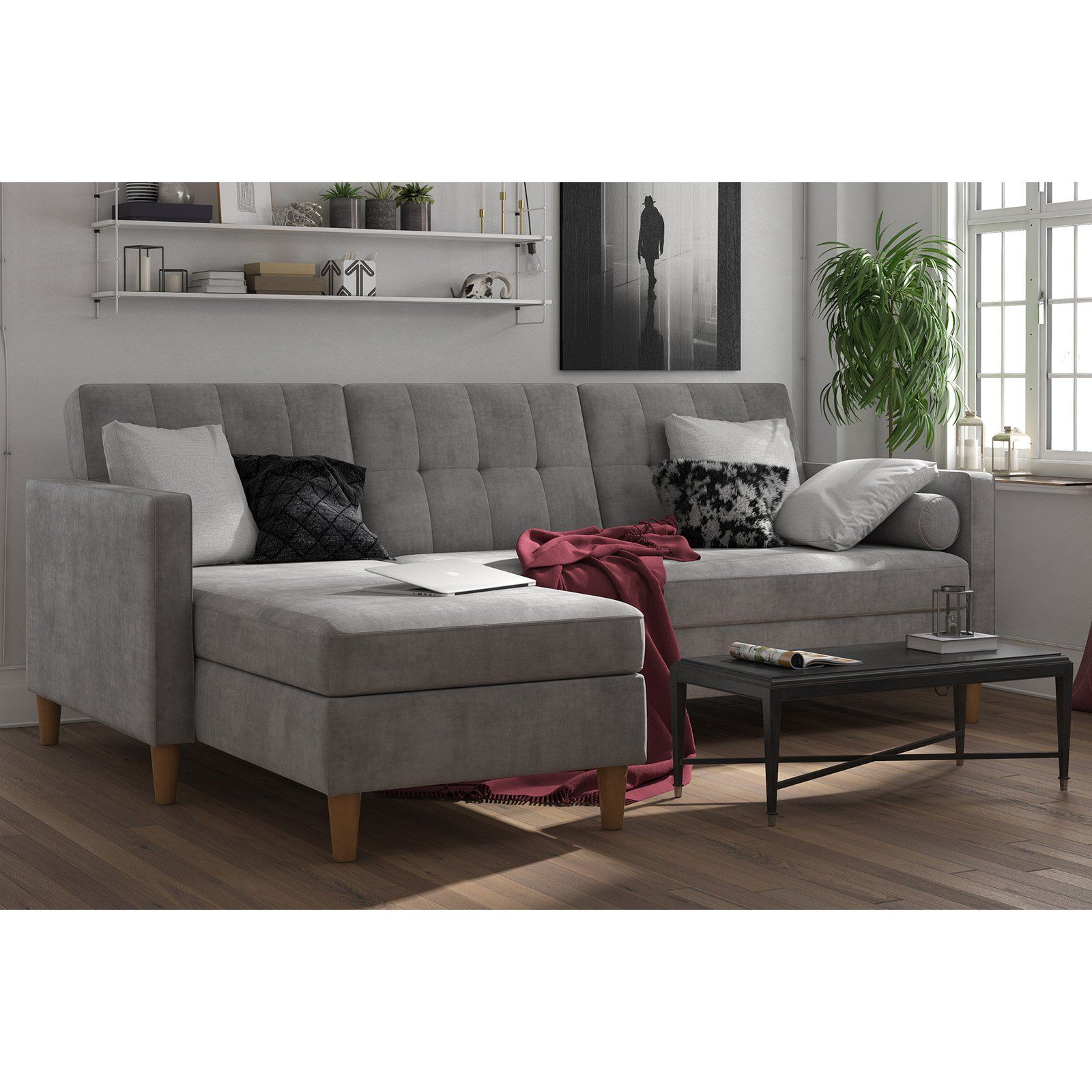 Dhp Hartford Storage Sectional Futon With Chaise Gray In