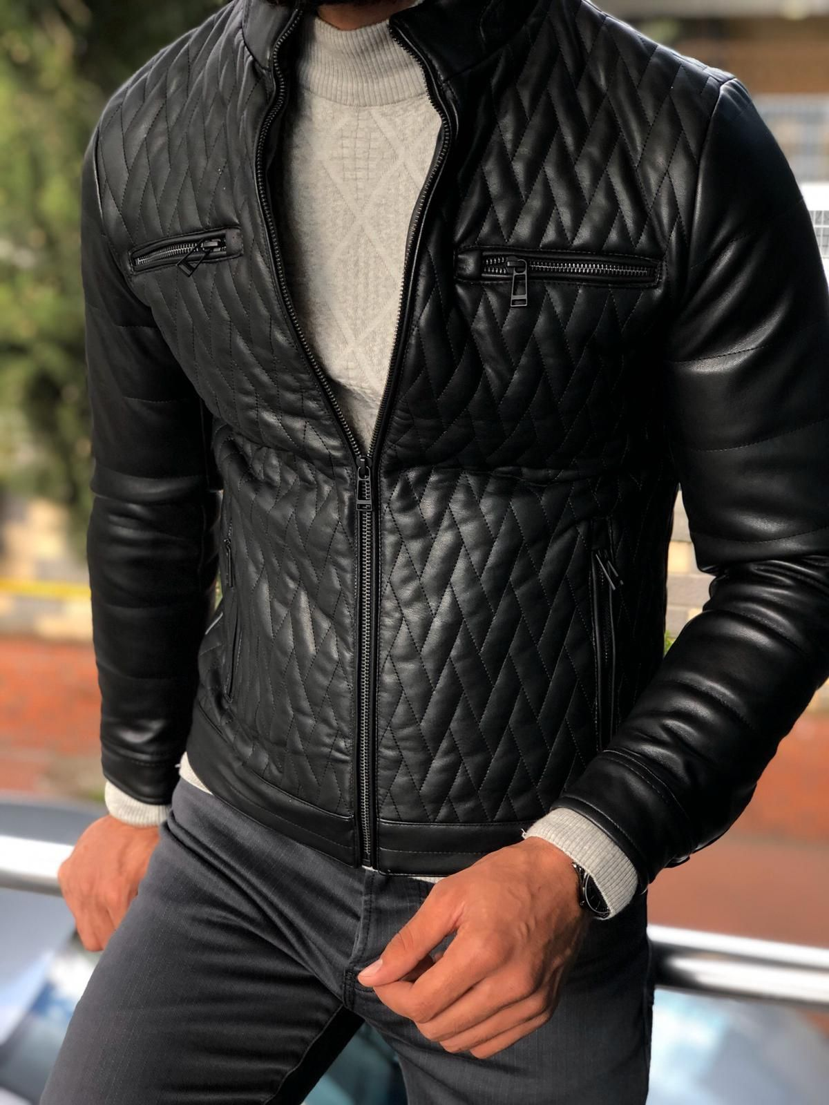 Gentwith Fabros Black Slim Fit Patterned Coat Gent With Coat Patterns Leather Jacket Men Men S Coats And Jackets [ 1600 x 1200 Pixel ]