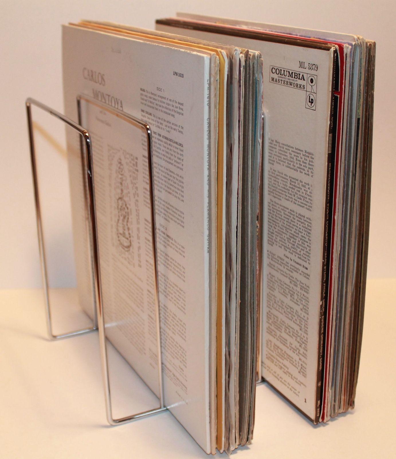 Vintage LP Vinyl Record Metal Storage Rack 1960u0027s perpetual lines with a taller stature. & Vintage LP Vinyl Record Metal Storage Rack Stand Crate Shelf 1960s ...