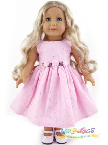 """Doll Clothes fits 18"""" American Girl Pink Cotton Lace Party Dress"""