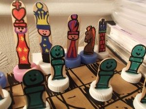 hand made chess set pieces and board