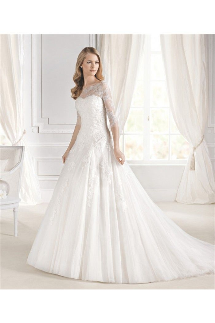 A Line Sweetheart Tulle Lace Wedding Dress Three Quarter Sleeves ...