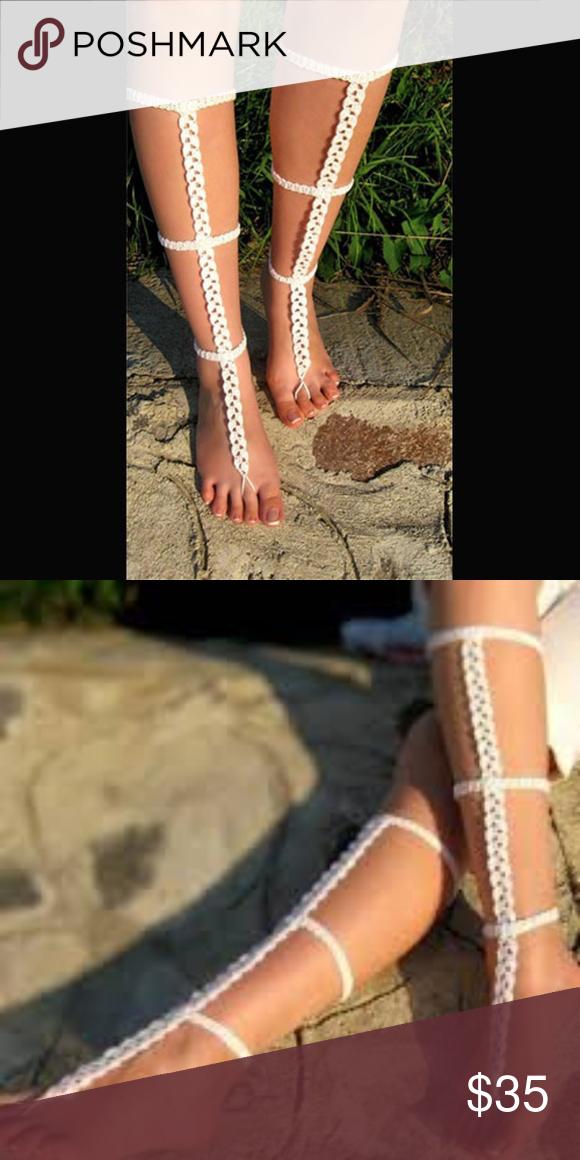 f9c843d08bb665 White Handmade Crochet Barefoot Gladiator Sandals New. Gorgeous pair of  handmade cotton crochet barefoot sandals. Perfect for summer