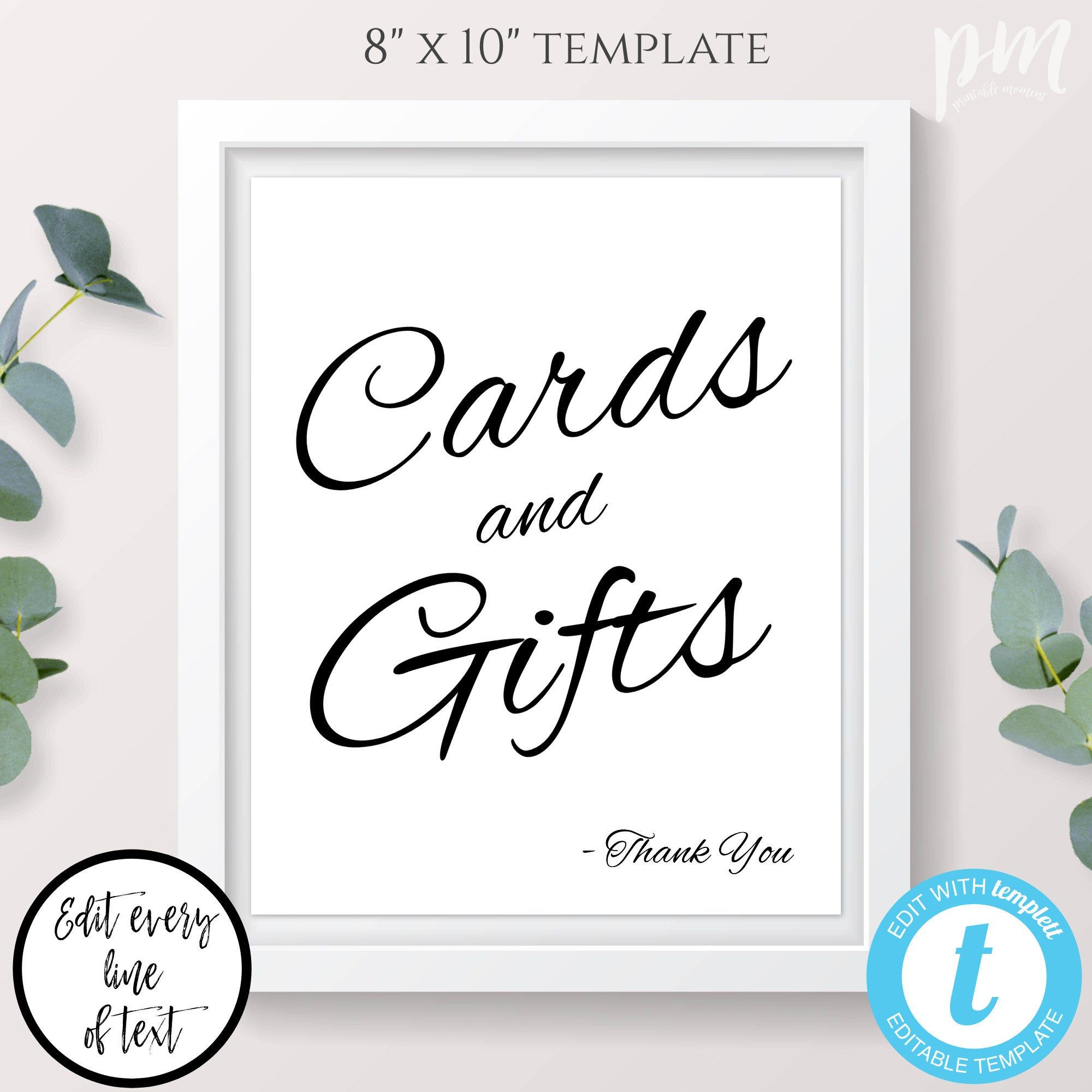 Cards And Gifts Sign Template Editable Calligraphy Wedding Etsy Sign Templates Gifts Sign Cards Sign