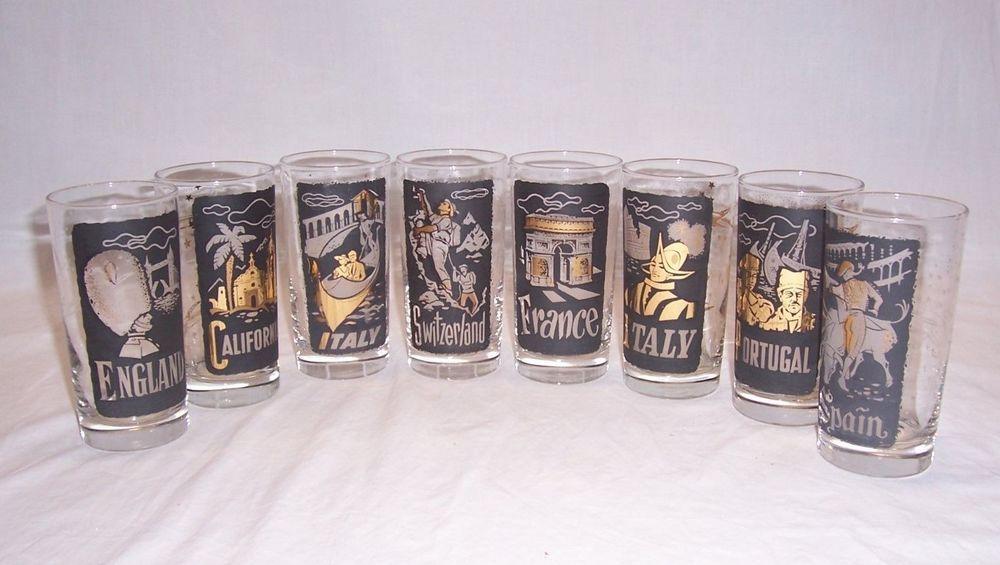Vintage TWA Glasses Set of 8 Tumblers 12 Oz Travel Libbey Italy Spain France Etc
