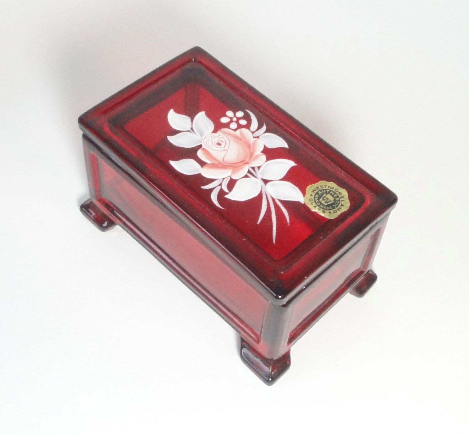 Ruby Red Glass WESTMORELAND Footed and Lidded Box with Hand Painted Rose. Signed. by Cosasraras on Etsy