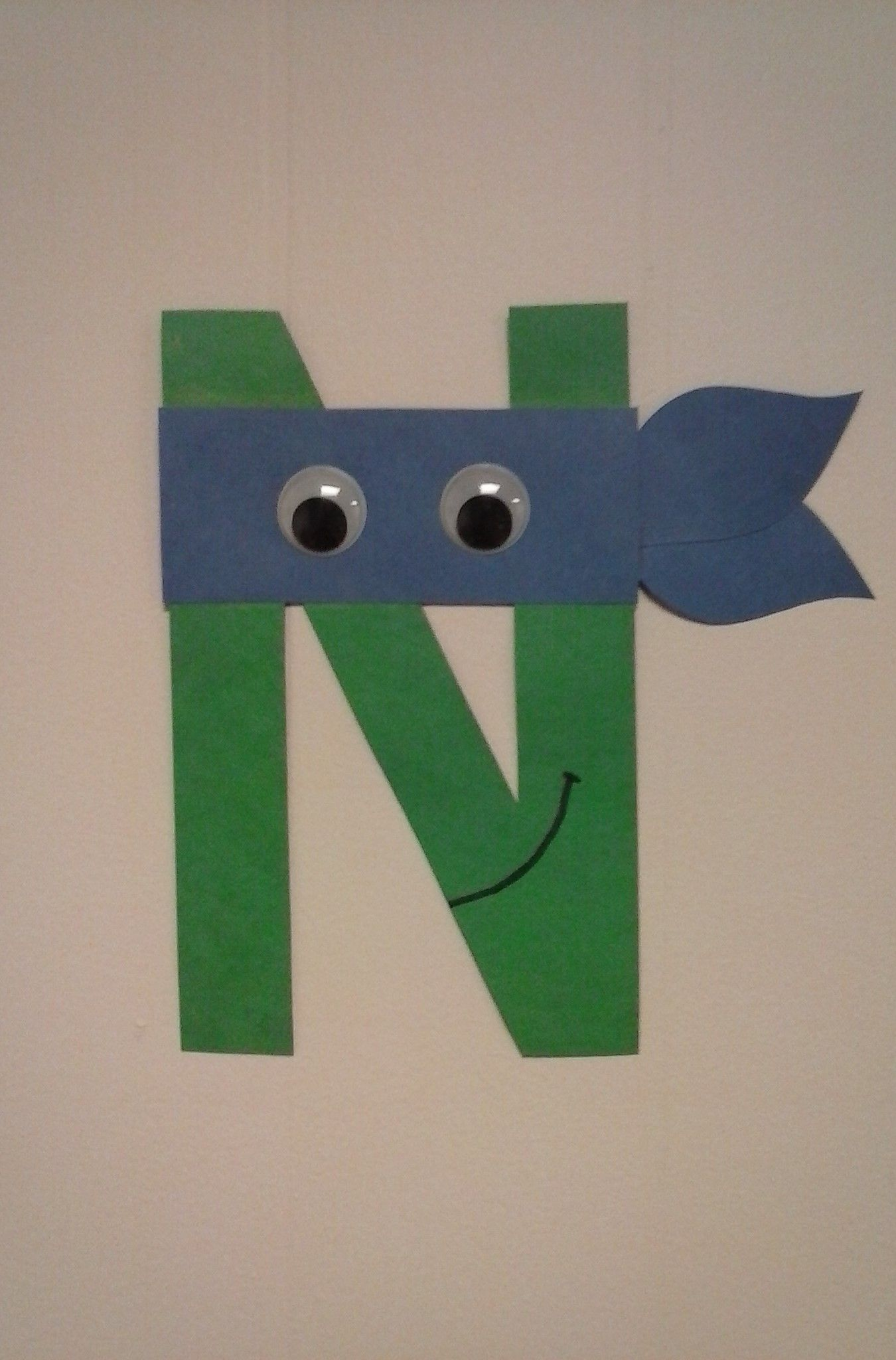 Preschool letter n n is for ninja turtle alphabet for Art n craft for toddlers