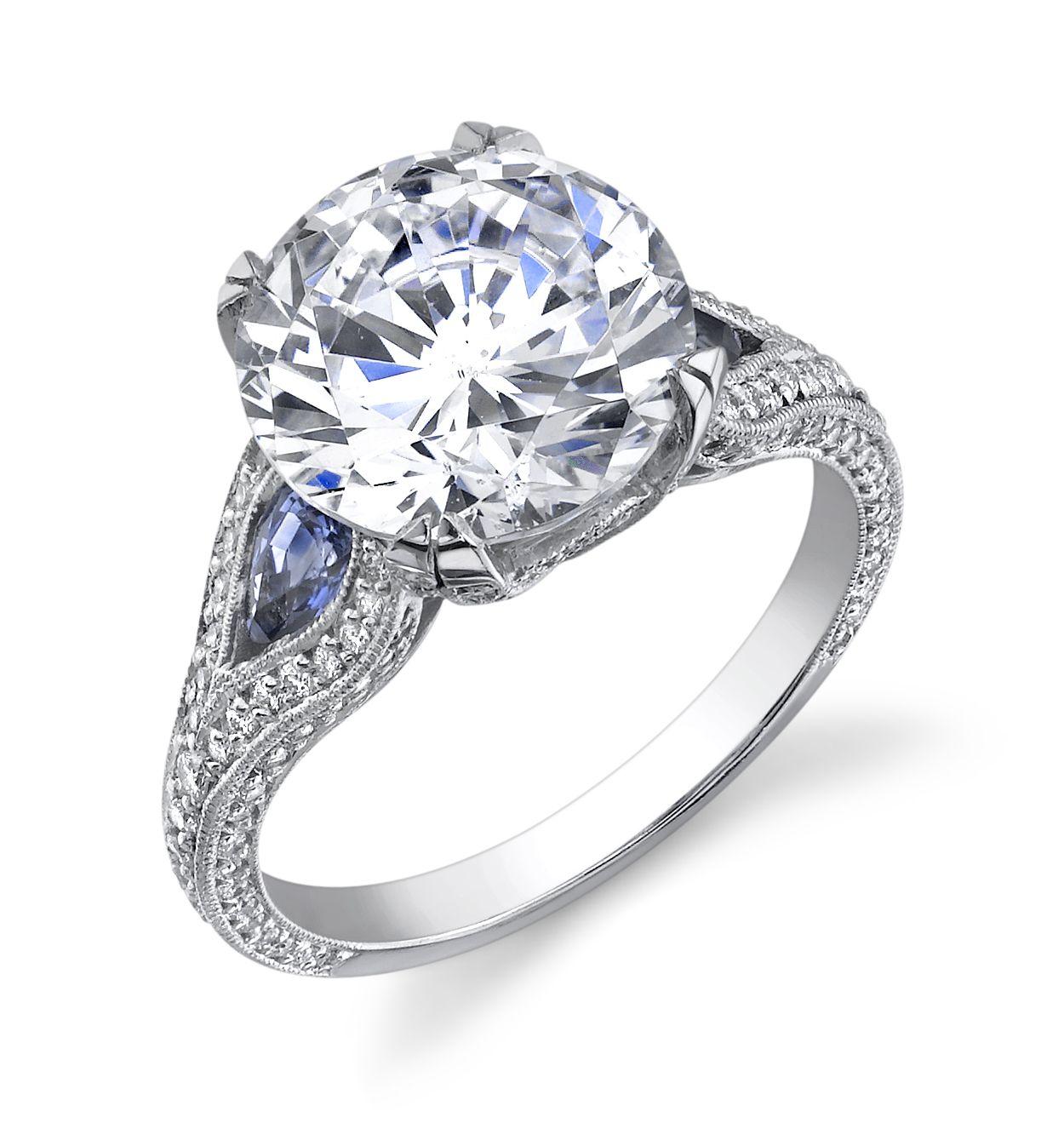 C Gonshor sapphire & diamond ring Sapphire diamond