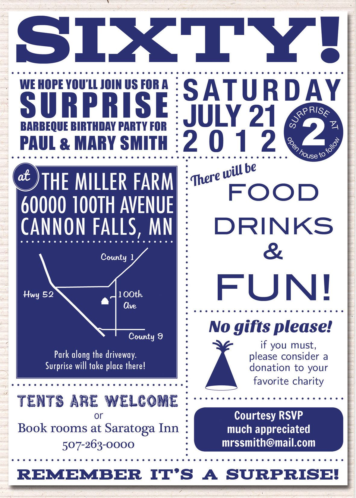 Paul and Mary\'s Surprise 60th Birthday | a. olson design | Dad\'s ...