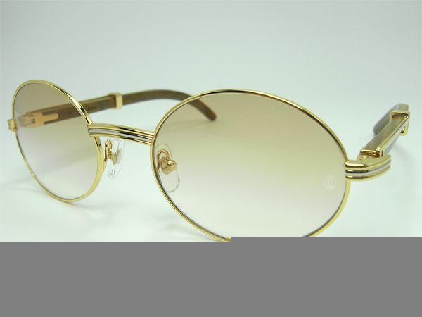 4a360ef715d Cartier 7550178 55-22 sandalwood sunglasses gold brown