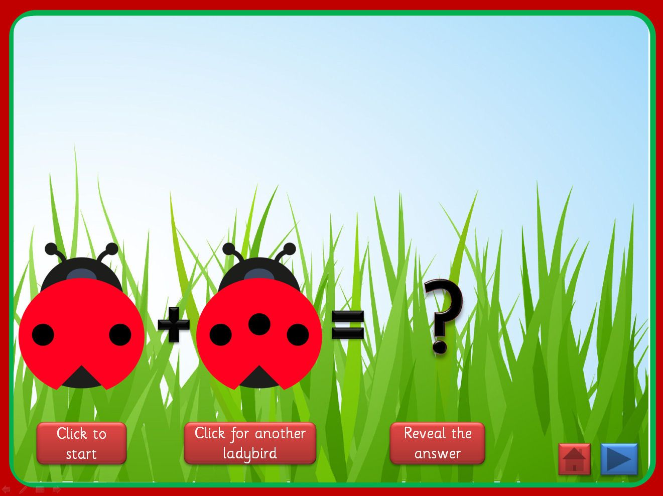 Basic Addition Powerpoint With A Ladybird Theme That