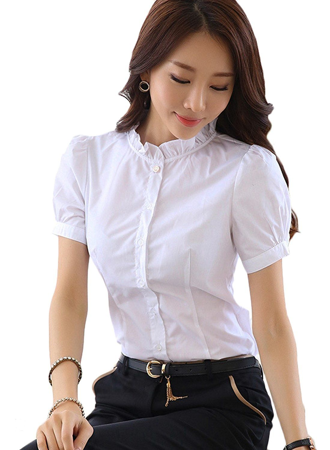 97d04d2203af4d Chouyatou Women's Casual Ruffle Collar Fitted Puff Short Sleeve Dress Shirts  (X-Small, White)
