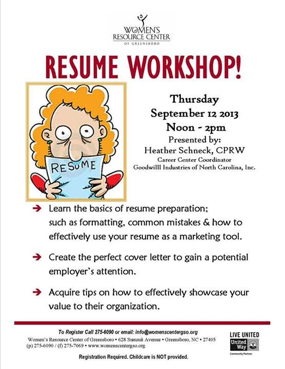 Resume Workshop! To register via email, please send your name