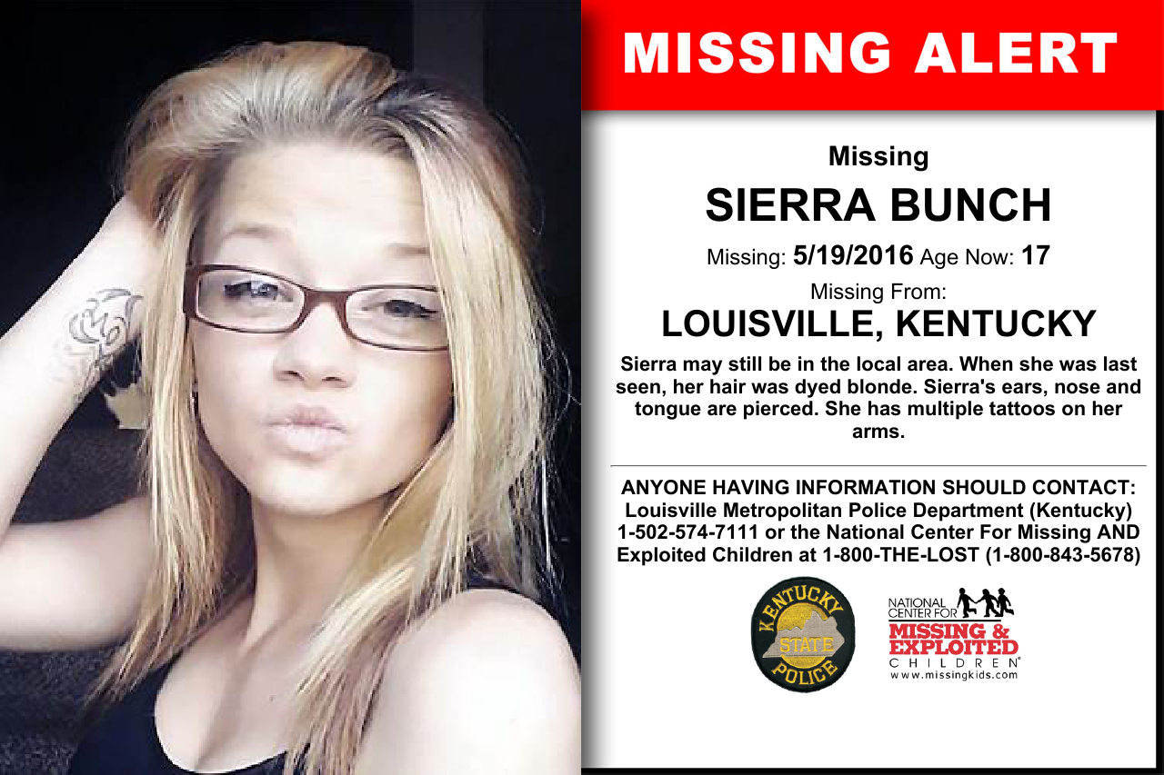 SIERRA BUNCH, Age Now: 17, Missing: 05/19/2016  Missing From