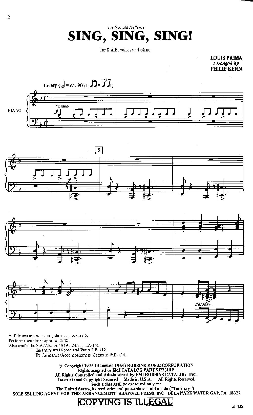 Sing Sing Sing Sab By Louis Prima Arr J W Pepper