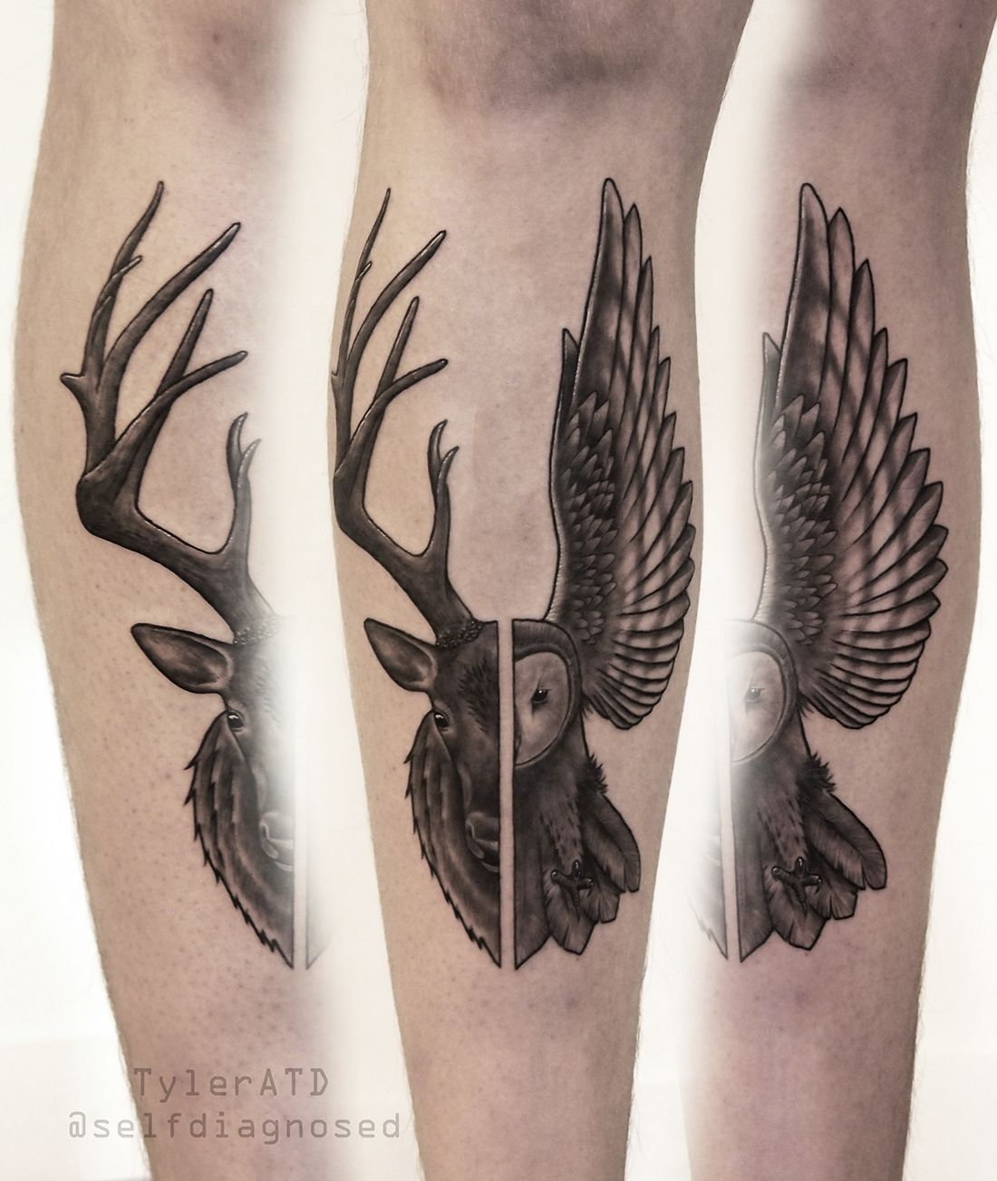 Deer and owl tattoo by TylerATD location: Whistler, Canada. instagram: @selfdiagnosed