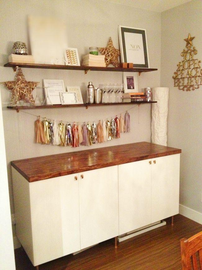 Floating Bookshelves Over Dresser Shelving Above Buffet And