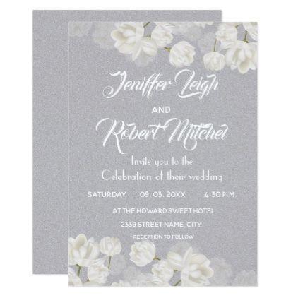 Elegant White And Silver Floral Wedding Invitation Zazzle Com