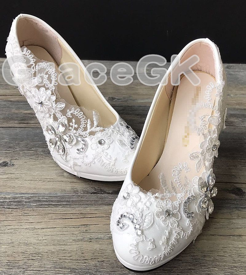 Details about Lace white ivory crystal Wedding shoes