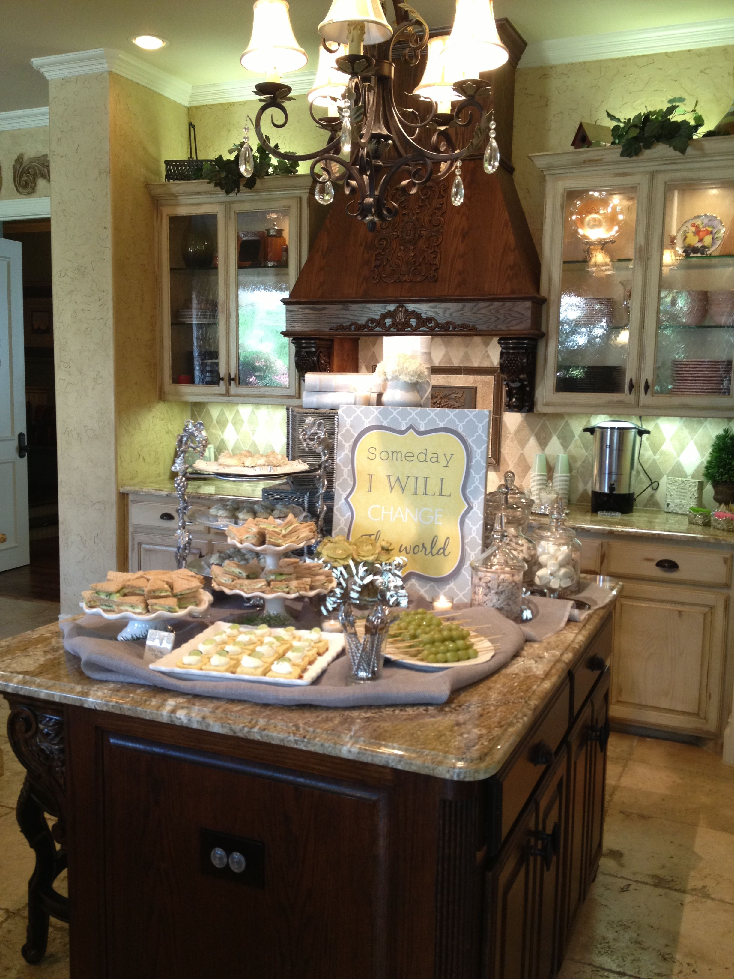 Kitchen Island Set Up For Baby Shower Feeling Special, Kitchen Islands,  Entertaining, Dishes