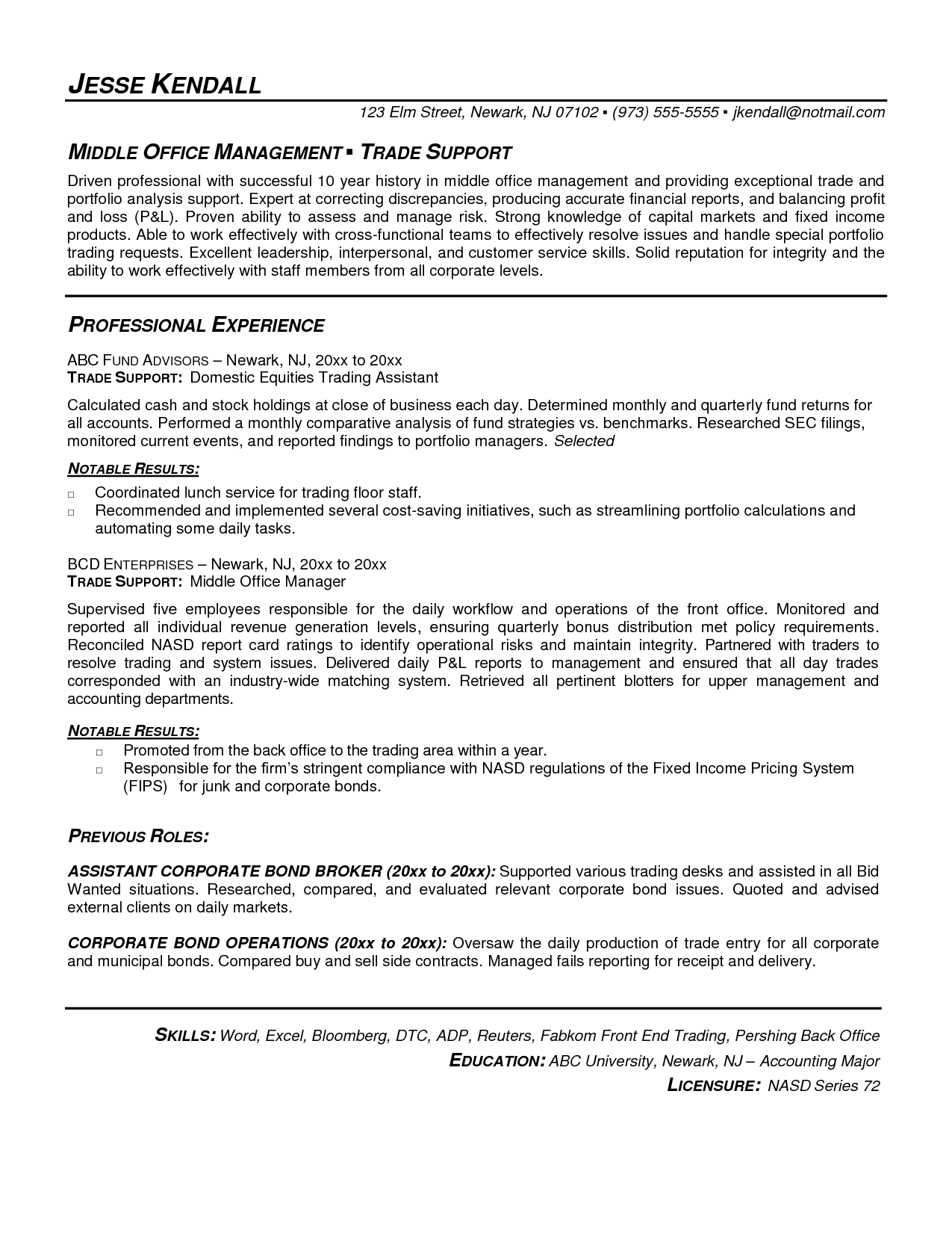 Career Resume Template Resume Template Proprietary Trading Stock Broker