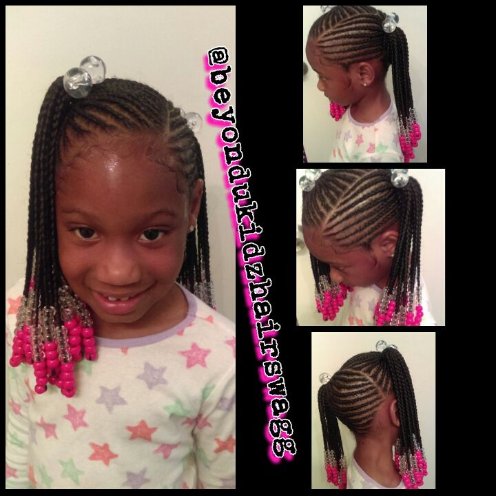 Kids Ponytail Braids And Beads Style Beyondukidzhairswagg Kids Hairstyles Braids For Kids Little Girl Braids