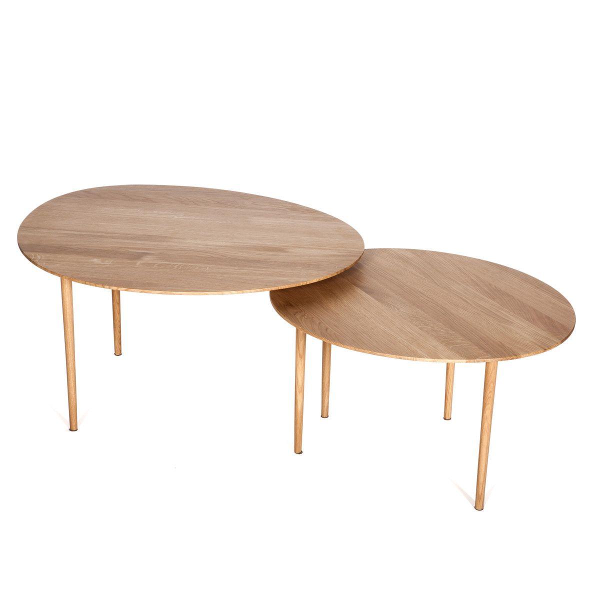 Hans Hansen Nenufar Beistelltisch Set Eiche 2er Set Tables